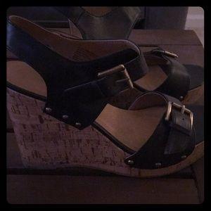 Cork wedge platform heels